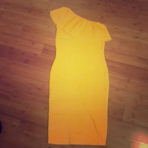 Xoxo women's dress yellow one shoulder  M